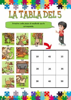 Interactive worksheet La tabla del 5