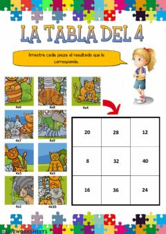 Interactive worksheet La tabla del 4