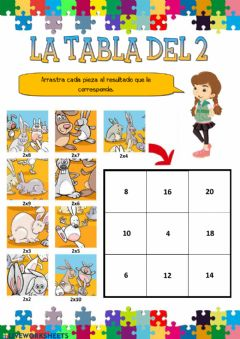 Interactive worksheet La tabla del 2