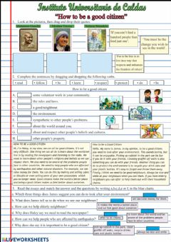 Interactive worksheet How to be a good citizen