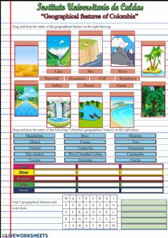 Interactive worksheet Geographical features (Colombia)