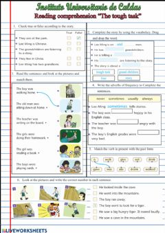 Interactive worksheet Reading comprehension -The tough task-