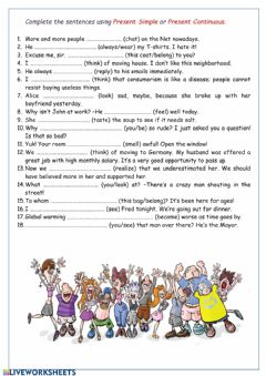 Present Simple Present Continuous worksheet preview