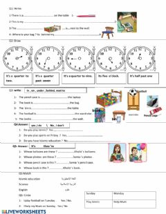 Ficha interactiva Review - unit 1 and 2 third grade