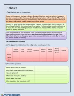 Interactive worksheet Reading hobbies