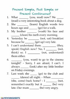 Interactive worksheet Present Simple, Past Simple, Present Continuous