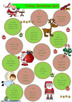 Interactive worksheet Tricky Christmas Quiz