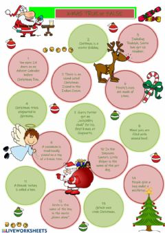 Interactive worksheet Christmas True or False
