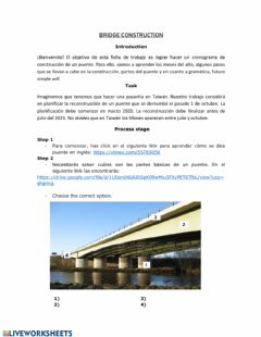 Interactive worksheet Planning a bridge construction