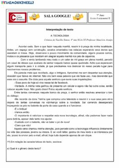 Interactive worksheet Interpretação de texto - Tecnologia