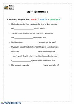 Interactive worksheet Unit 1 grammar 2