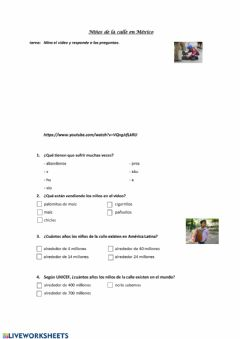 Interactive worksheet Niños de la calle