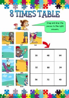 Interactive worksheet 8 times table