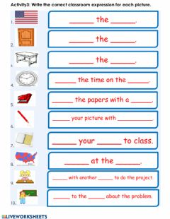 Interactive worksheet Writing Activity: Classroom Language