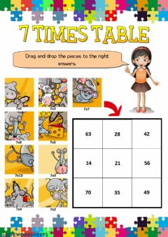 Ficha interactiva 7 times table