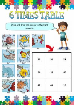 Interactive worksheet 6 times table