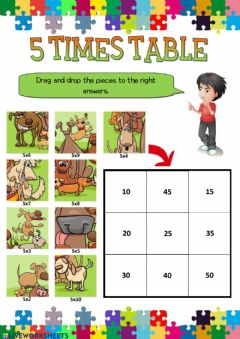 Interactive worksheet 5 times table