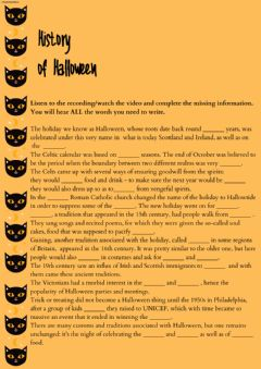 Interactive worksheet History of Halloween