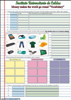Interactive worksheet Vocabulary money makes the world go round (English please)
