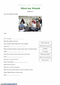 Interactive worksheet Meeting people