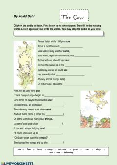 Interactive worksheet The Cow by Roald Dahl