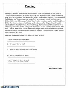 Interactive worksheet A trip