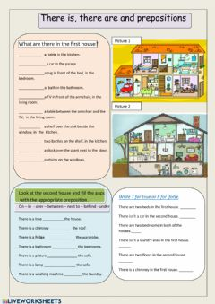 Interactive worksheet There is, there are and prepositions