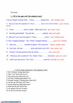 Interactive worksheet Already, just, still, yet, : adverb placement