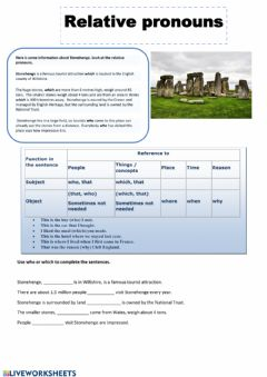 Relative pronouns worksheet preview
