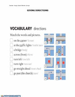 Interactive worksheet Giving Directions