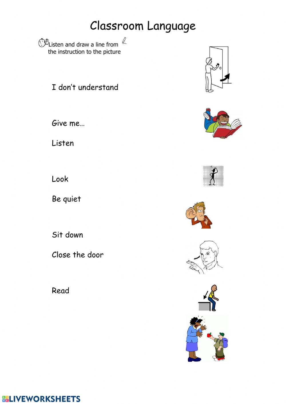 Classroom language: online and pdf exercise