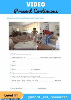 Interactive worksheet Present Continuous - Video