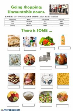 Interactive worksheet Going shopping: uncountable nouns