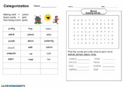 Categorization worksheet preview