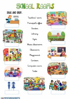 Interactive worksheet School rooms-1