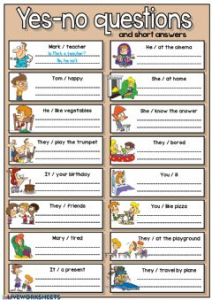 Interactive worksheet Yes-no questions and short answers