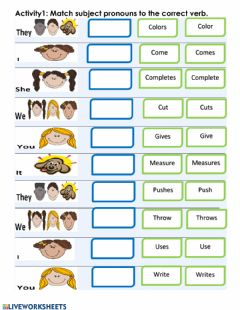Matching: Subject Pronouns & Verbs worksheet preview