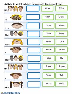 Interactive worksheet Matching: Subject Pronouns & Verbs