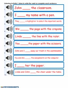 Ficha interactiva Listening: Simple Present Tense Verbs