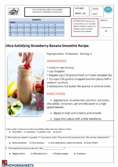 Interactive worksheet English test: recipe