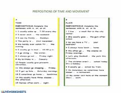 Interactive worksheet prepositions of time and movement at in on to