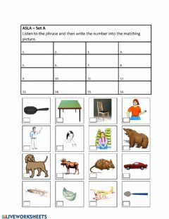 Interactive worksheet ASLA Set A Audio - Choose P1