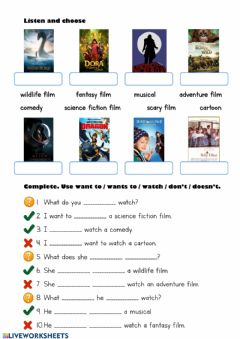 Types of films-1 worksheet preview