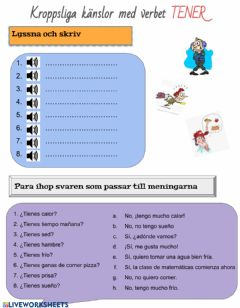 Interactive worksheet ¡Vale! 8 kap.4