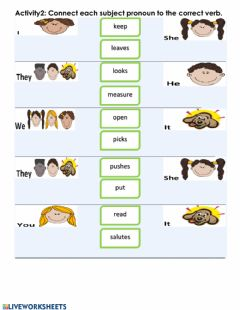 Ficha interactiva Matching: Subject Pronouns & Verbs