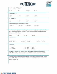 Interactive worksheet Potencije