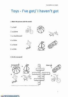 Interactive worksheet I've got-I haven't got - Toys