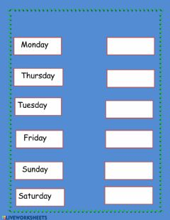 Interactive worksheet Type the weekdays