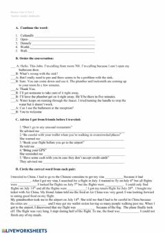 Interactive worksheet Four Corners 4 Review test 3