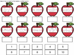 Ficha interactiva Apple Number Matching Cree Syllabics